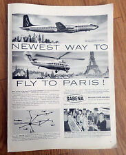 1957 Sabena Belgian World Airlines Ad Newest Way to Fly to Paris Sikorsky S-58
