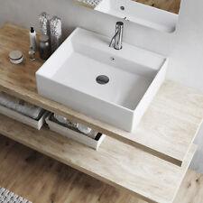 Lavabo rettangolare 58x46 bianco in ceramica d'appoggio design moderno lavandino