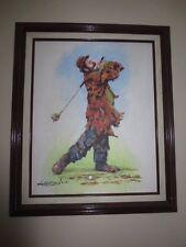 Barry Leighton-Jones Emmett Kelly Golf Framed Painting 16x20...22x24 Signed