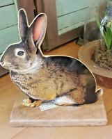 XXL Hirsch auf  Mango Holz Aluminium Weihnachtsdeko Silber Skulptur ca 44 cm
