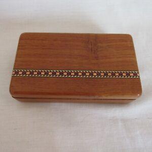 Handmade Wood Inlay Sliding Lid Stash Box Small