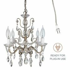 Vintage Small Crystal Chandelier Room Plugin Swag Pendant Lighting Fixture Lamp