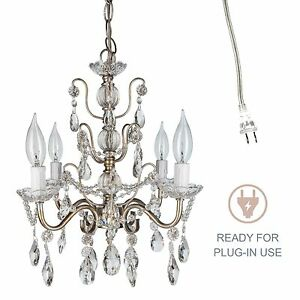 Vintage Small Crystal Chandelier Room Plugin Swag Pendant Lighting Fixture Lamp