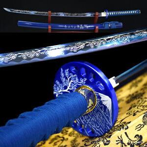 Sharp Japanese Samurai Sword Nihontou Katana Carbon Steel Blade Bluing #1349