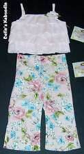 NEW NWT PLUM PUDDING Spring Rose Garden 2pc Ruffle Tank Flower Pant Set 3T