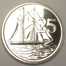 1972 Cayman Islands 25 Cents Sailboat Coin Proof-like