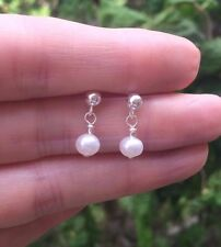 DESIGNER SMALL FRESHWATER PEARL DROP BRIDAL EARRINGS STERLING SILVER TINY STUDS