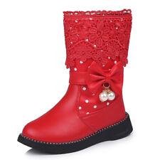 Fashion Girl Princess Snow Boots Children Kids Girl Mid-calf Boots Warm Shoe New