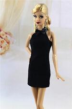 & fait main style vintage petite robe noire / outfit pour poupée Barbie Silkstone h03u