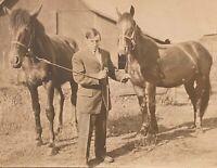 Real Photo Postcard RPPC ~ Man and Two Horses Near Barn