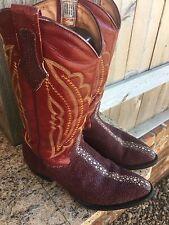 Vtg JAR Western Cowboy Boots Exotic CHERRY RED SEA Stingray Mens Sz 9