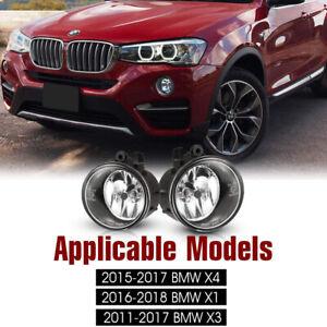 2Pcs Front Grills Bumper Driving Halogen Lamp Fog Lights For  BMW X3 2011-2017