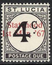 ST.LUCIA SGD12var 1967 UNISSUED 4c POSTAGE DUE OP STATEHOOD IN RED MTD MINT