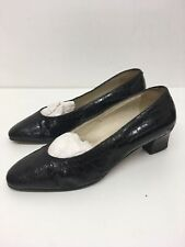WOMENS BALLY BROWN PATENT LEATHER MOC CROC HEEL COURT SHOES SIZE UK 3.5 EU 36.5
