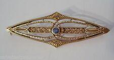 """14K Edwardian Fine Brooch 1 5/8"""" Bippart Griscom Osborn Blue Sapphire? Yellow"""