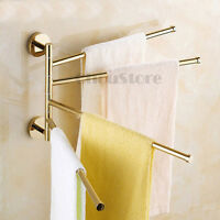 Gold Polish Brass 4 Bar Swivel Towel Rail Holder Bathroom Rack Hanger Wall Hook