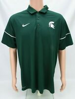 Nike Michigan State Spartans Dri Fit Mens Polo Shirt Size XL Short Sleeve Green