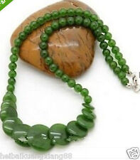 new lady green jade stone carving necklace