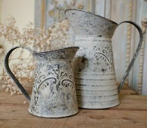 NEW French Metal Rustic GREY Vintage Shabby Chic Watering Jug Vase Planter Pot
