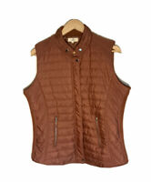 Entro  Size Large Women's Quilted Puffer Zip Up Vest Lined Zipped Pockets Copper