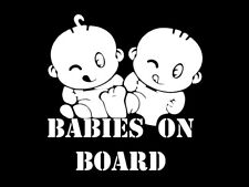 White Babies On Board Baby Car Sticker Sign Safety Vinyl Decal