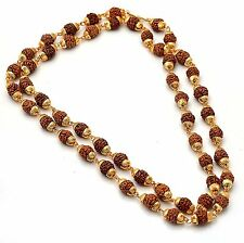 3Indian Rudraksha mala 24kt gram gold plated chain  beads 24 inch size