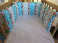 Cushi cots swing crib bumper girls pink rose with white/turquoise dots new