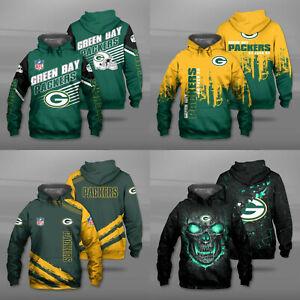 Green Bay Packers Men Football Hoodie Casual Pullover Jacket Hooded Sweatshirts