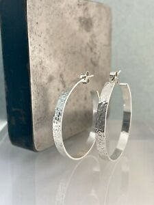 Sterling Silver 925 4mm Wide Sparkly Hammered Hoop Earrings • Sizes 25-50mm - UK