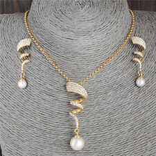 Hot Fashion Pearl 18k Gold Plated Crystal Necklace Drop Earrings Jewelry Set