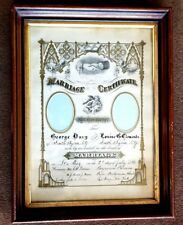 Marriage Certificate 1881 SOUTH BYRON, NY ANTIQUE ShadowBox FRAME VICTORIAN NICE