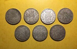 5 FRANCS 1868 1869 70 71 73 75 76  BELGIQUE LEOPOLD II LOT 7 MONNAIES EN ARGENT.