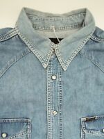 WRANGLER DENIM SHIRT MEN'S REGULAR FIT POPPERS LARGE LIGHT BLUE LSHT655
