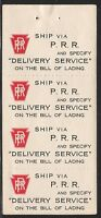 """Pennsylvania Railroad - Promotional Labels - """"Delivery Service"""" Pane of (4)"""