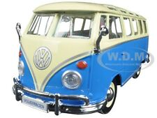 VOLKSWAGEN SAMBA BUS VAN BLUE 1:25 DIECAST MODEL CAR BY MAISTO 31956