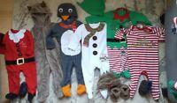 Boy girl 6-9 Months Bundle Christmas Outfits Elf Santa Snowman helper
