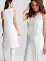EILEEN FISHER Handkerchief Organic Linen White Sleeveless Wrap Dress Tunic Sz M