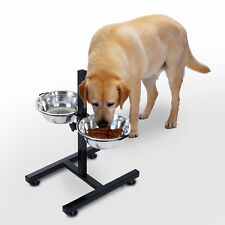 Cat Dog Pet 2 Bowl Stainless Steel Adjustable Raised Stand Food Water Feeder