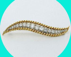 1.50C Van Cleef & Arpels estate E-F VVS VS diamond wave pin 18K round brilliant