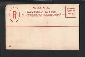 Tonga: Postal Stationery (4 pence) for registration cover, red cross, TG35/