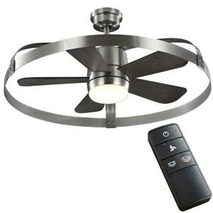 "HDC Harrington 36"" White LED Brushed Nickel In/Outdoor Ceiling Fan w/Remote"