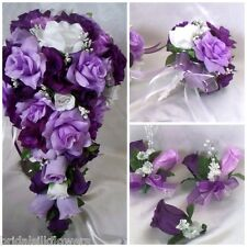 Wedding Bridal Bouquet Cascade Lavender Purple Silk Rose Flower Package 21pc