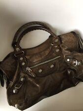 BALENCIAGA Vert Fonce SGH Part Time Dark Brown Giant Silver Studs Bag