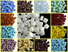 CHOOSE COLOR! 30pcs 6x6mm Silky Beads 2 Diagonal Holes Czech Pressed Glass