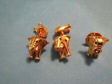 CABOUCHON GOLD TONE FRENCH CUFF LINKS AND TIE TACK - VINTAGE