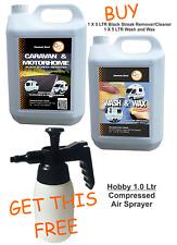 2x5 Ltr Black Streak Remover Cleaner Caravan Motorhome & Carnauba Wash Wax VALUE