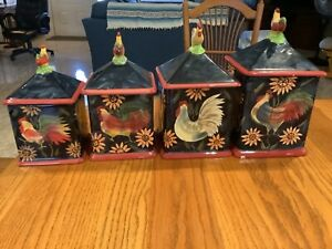 SUSAN WINGET CERTIFIED INTERNATIONAL ROOSTER/ SUNFLOWER SET ( 4 CANISTERS )