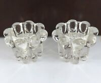 .QUALITY MATCHING PAIR SIGNED REIMS, FRANCE HEAVY SET GLASS CANDLESTICK HOLDERS.