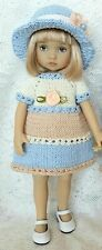 """Handknitted dress and hat for Dianna Effner Boneka doll 10"""""""