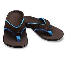 Spenco Yumi Sandal Slip Flip flop Slide Support Size 7 Women chocolate / blue